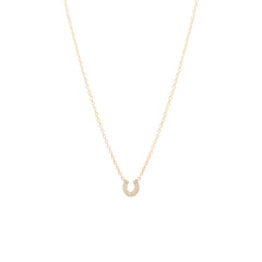 14k itty bitty pave diamond horseshoe necklace