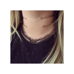 Zoë Chicco 14kt Gold White Baguette Diamond Open Wire Choker Necklace Layered