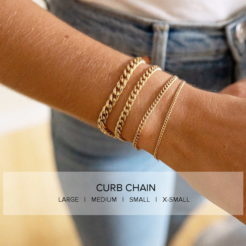 14k medium curb chain bracelet