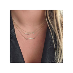 14k pave thin bar necklace