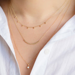 14k tiny bead curved bar necklace