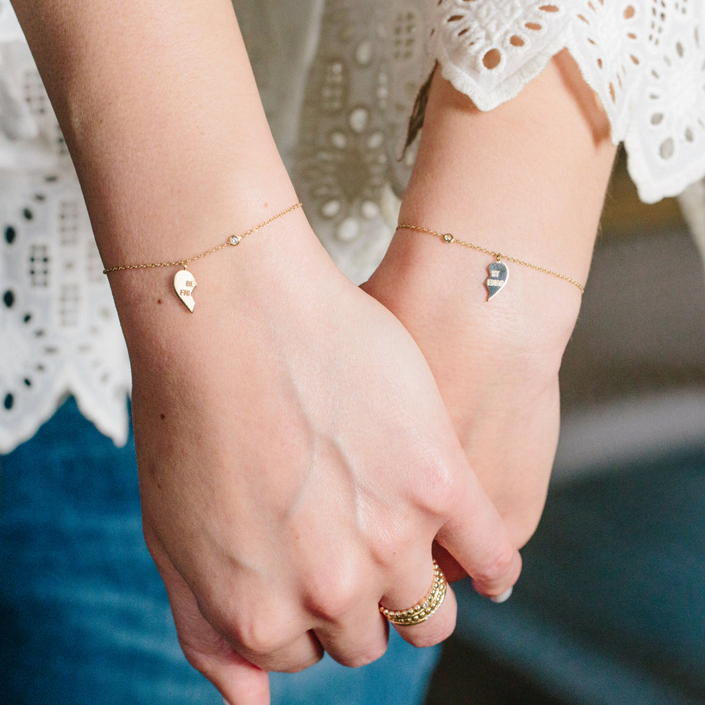 14k midi bitty BFF & floating diamond bracelet set
