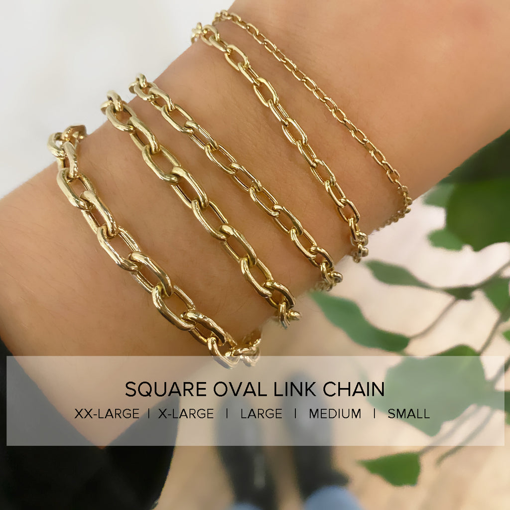 14k small square oval chain bracelet