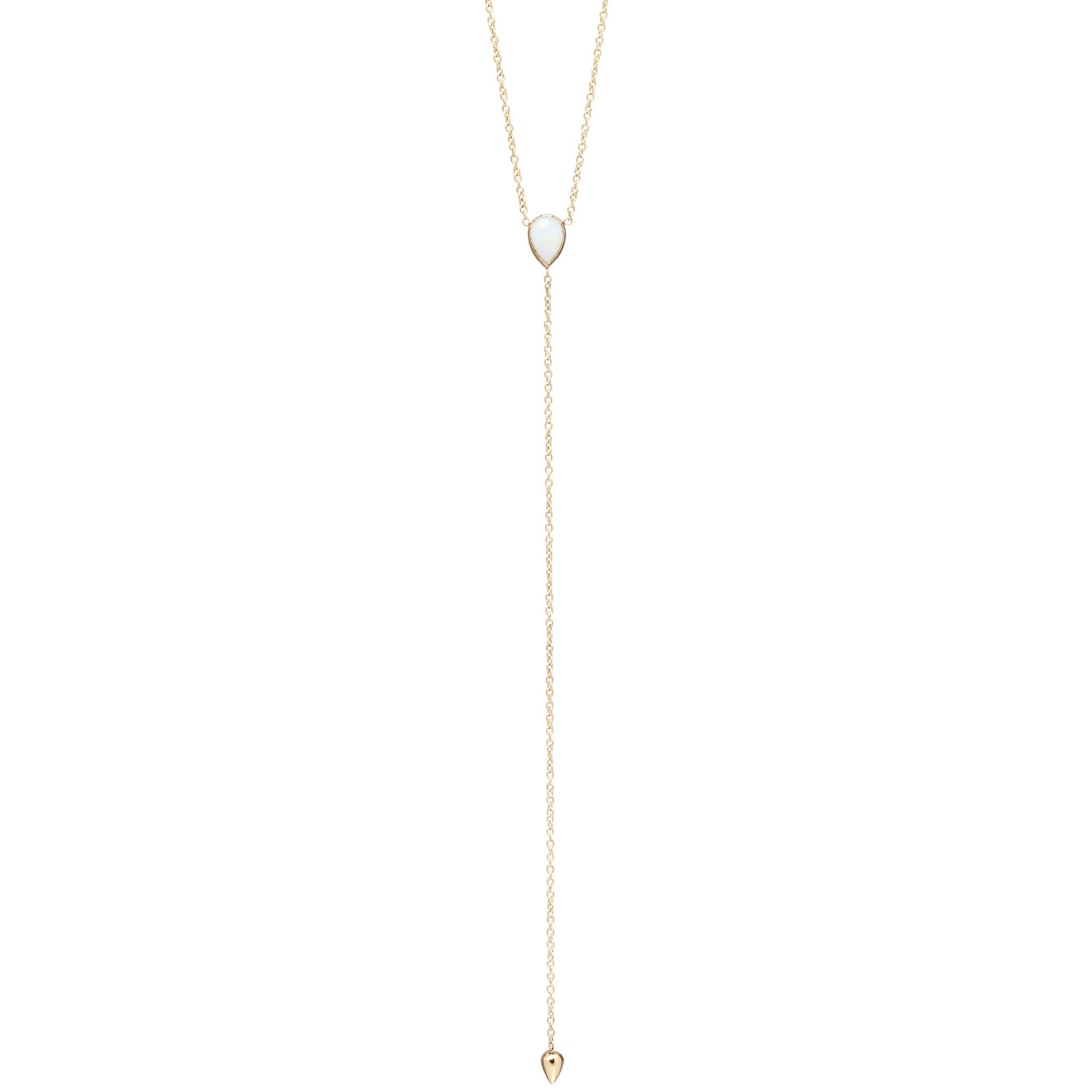 14k opal tear lariat necklace