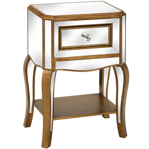 Aria Mirrored Side Table with Drawer - MEEKNEST