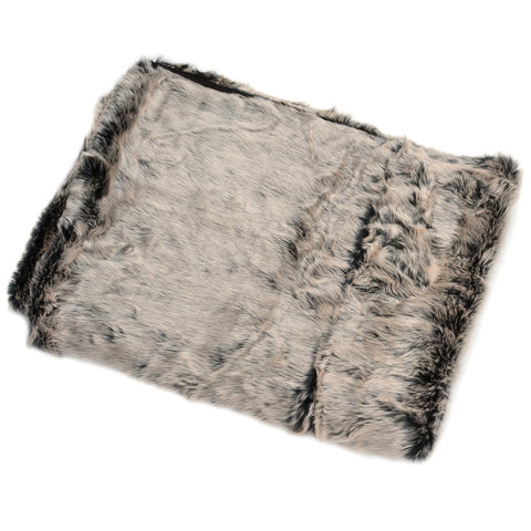 Luxurious Grey Faux Fur Throw - MEEKNEST