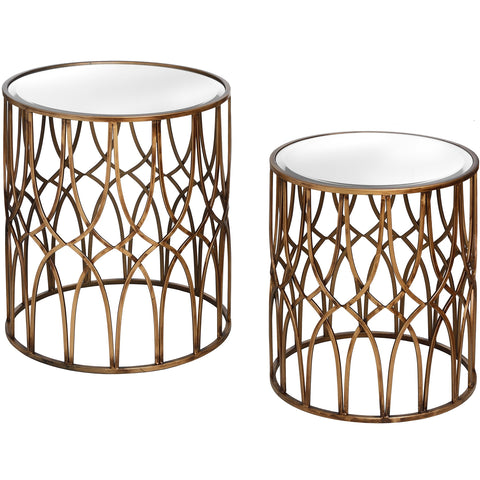 Rio Set Of Two Gold Detail Mirrored Side Tables - MEEKNEST
