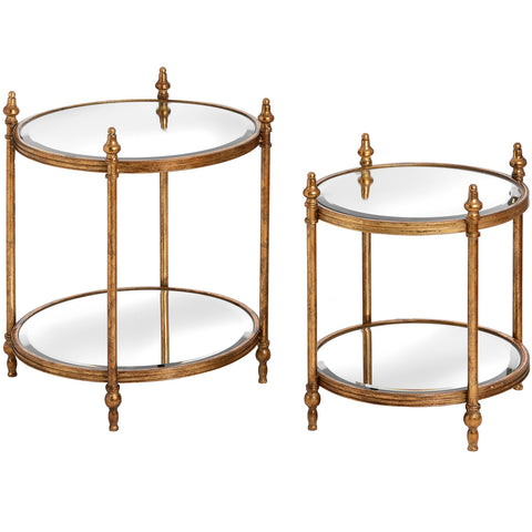 Set Of Two Gold Round Tables - MEEKNEST