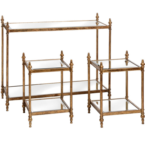 Gold Console Table With Two Side Tables - MEEKNEST