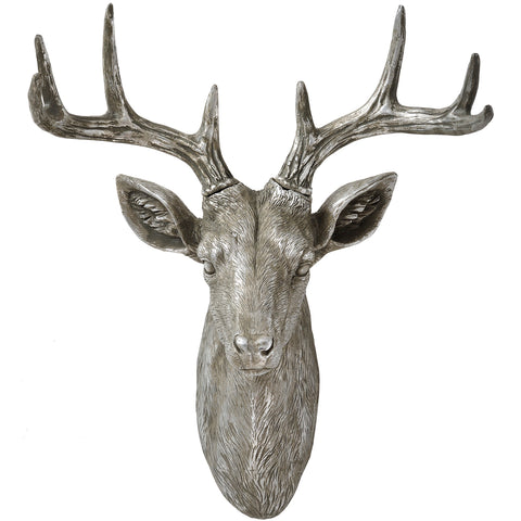 Antique Silver Wall Hanging Stag - MEEKNEST