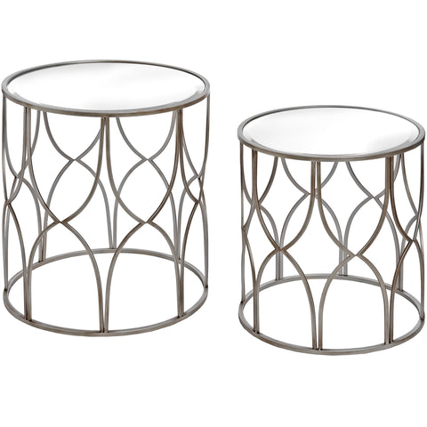 Lattice Detail Silver Side Tables - MEEKNEST