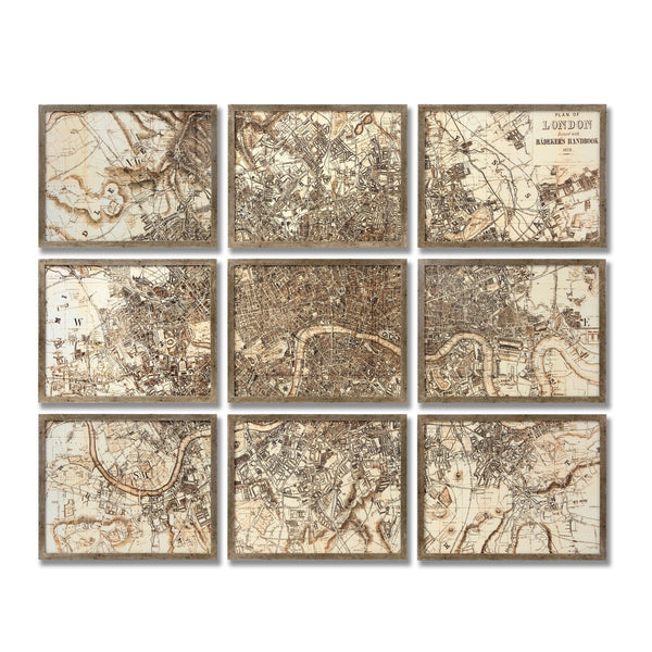 Map of London Set in 9 Frames