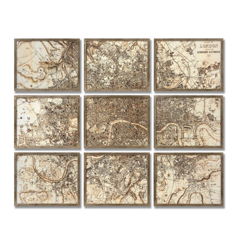 Map of London Set in 9 Frames - MEEKNEST