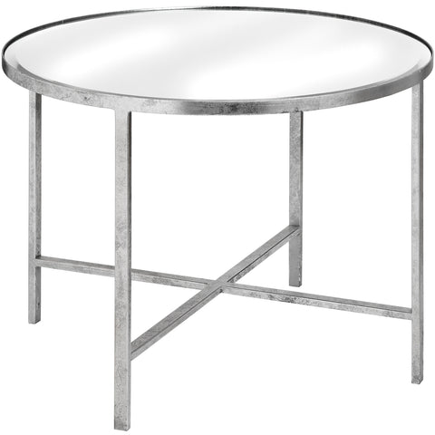 Lucy Cross Detail Round Silver Side Table - MEEKNEST