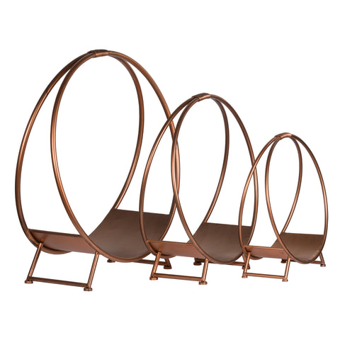 Set Of Three Copper Finished Round Log Display Holders - MEEKNEST