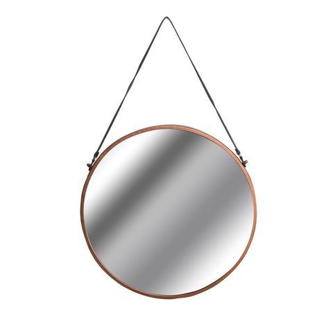 Copper Rimmed Round Hanging Wall Mirror With Black Strap - MEEKNEST