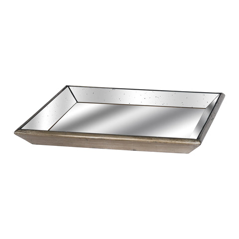 Large Club Distressed Mirrored Tray With Wood Detail - MEEKNEST