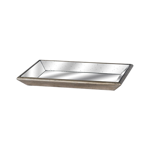 Small Club Distressed Mirrored Tray With Wood Detail - MEEKNEST