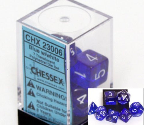 Chessex Polyhedral 7-Die Translucent Dice Set - Dark Blue
