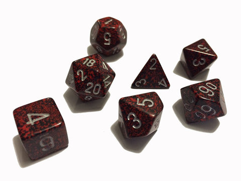 Chessex Polyhedral 7-Die Speckled Dice Set - Silver Volcano