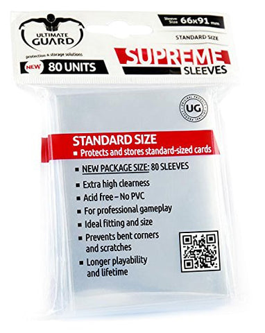 Ultimate Guard - 80ct Standard Supreme Deck Protector Sleeves - Clear