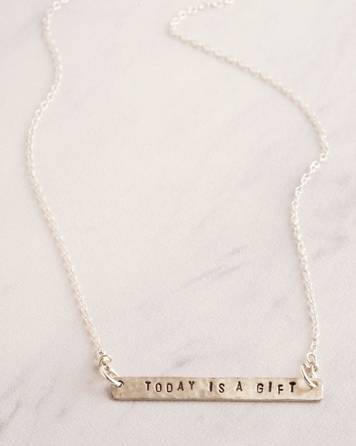 Uplifting Quotes Silver Necklace