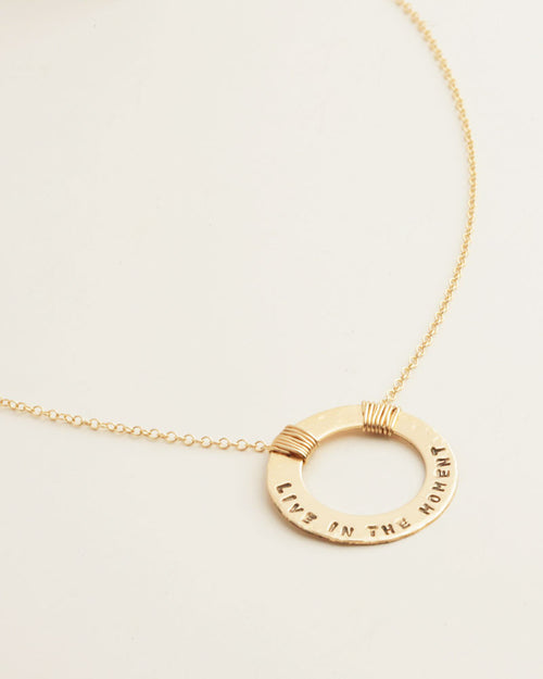 Full Circle Quotes Gold Necklace
