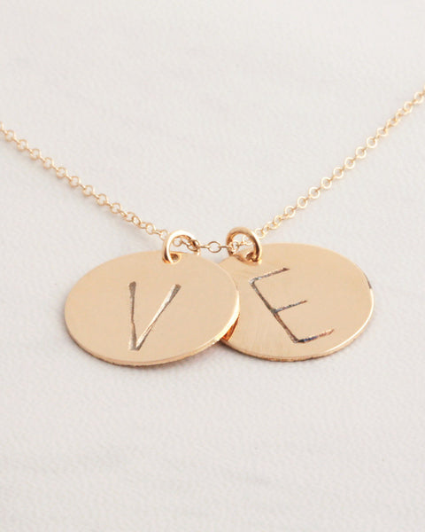 Two Big Initials Gold Necklace