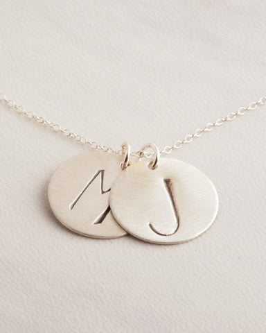 Two Big Initials Silver Necklace