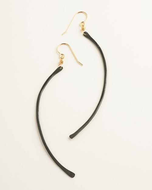 Curved Black Earrings