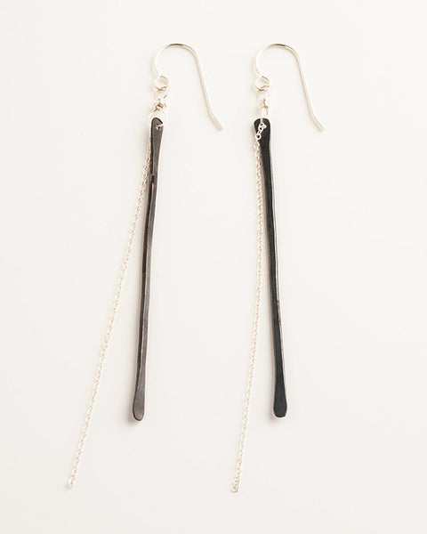 One Line Black Earrings