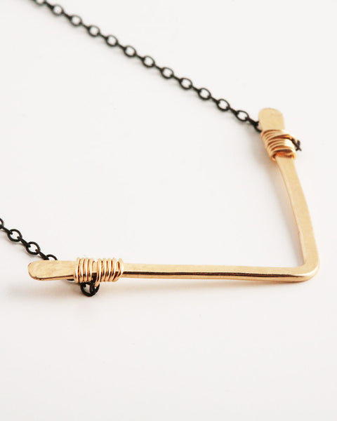 Single Chevron Gold & Black Necklace