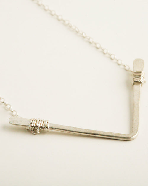 Single Chevron Silver Necklace