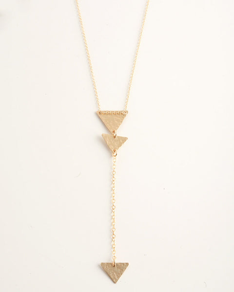 Mini Triangles Lariat Gold