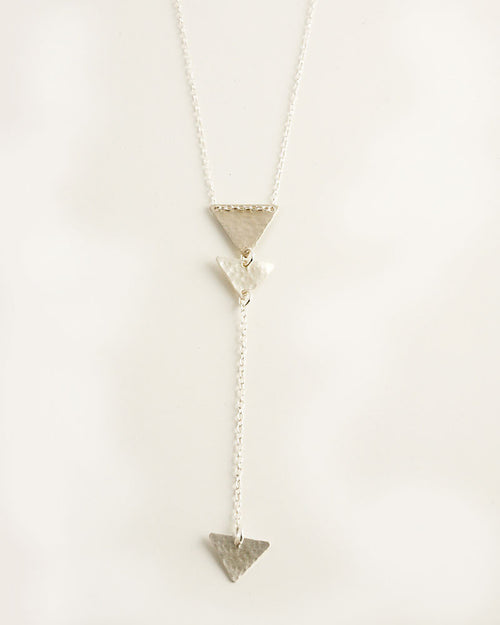 Mini Triangles Lariat Silver