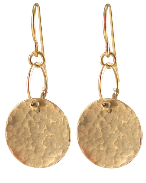 14k Gold filled Disc Hammered Hand-Made Earrings