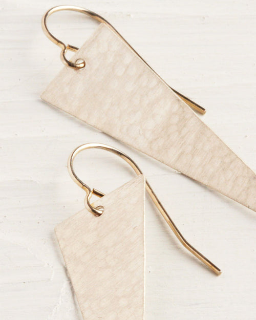 Hand Cut Scalene Triangle Silver Earrings