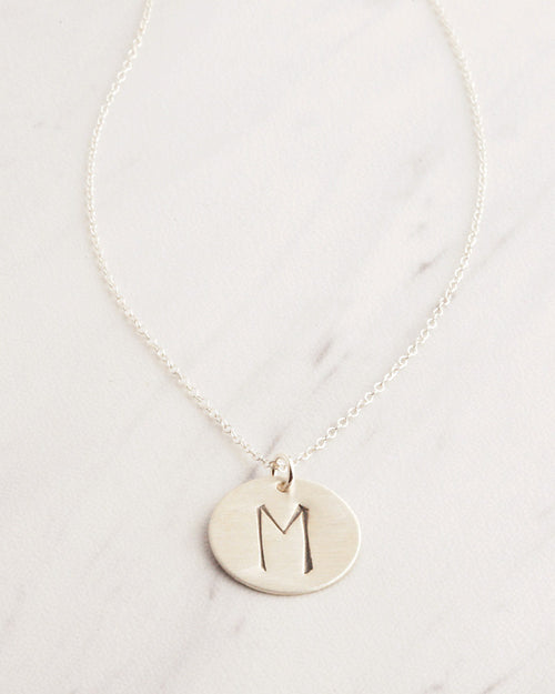 Big Initial Silver Necklace