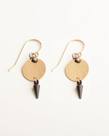 Gold Fill Oxidized Silver Hammered Disc Earrings