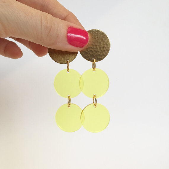 Traffic Light Limencello Earrings