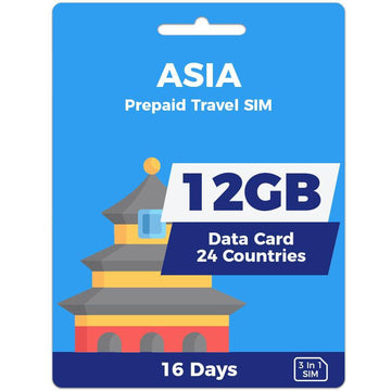 Asia Prepaid SIM Card | 16 Day | 12GB
