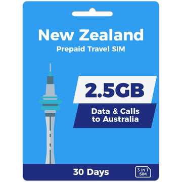 New Zealand Prepaid SIM Card | 30 Day | 2.5GB
