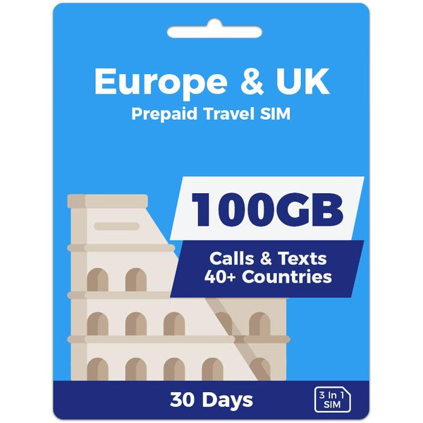 Europe Prepaid SIM Card | 30 Day | 100GB-Prepaid SIMs