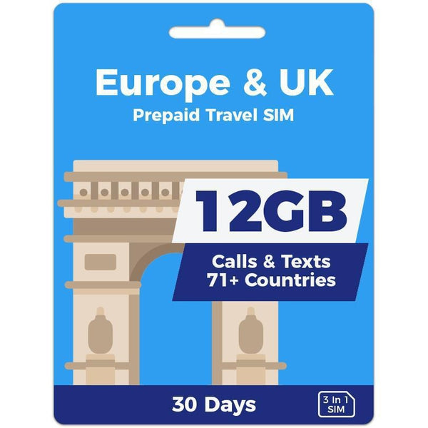 Europe Prepaid SIM Card | 30 Day | 12GB-Prepaid SIMs