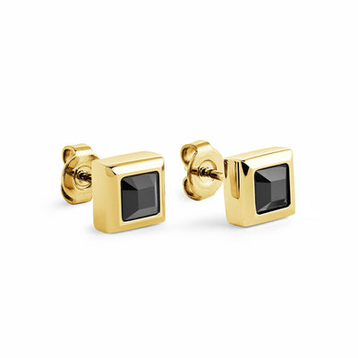 Square Black CZ Stud Earrings