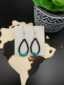Turquoise Center Teardrop Hoops
