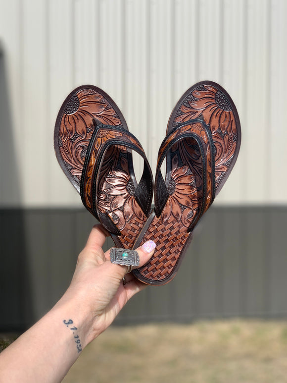 The Sunflower Tooled Leather Flip Flops