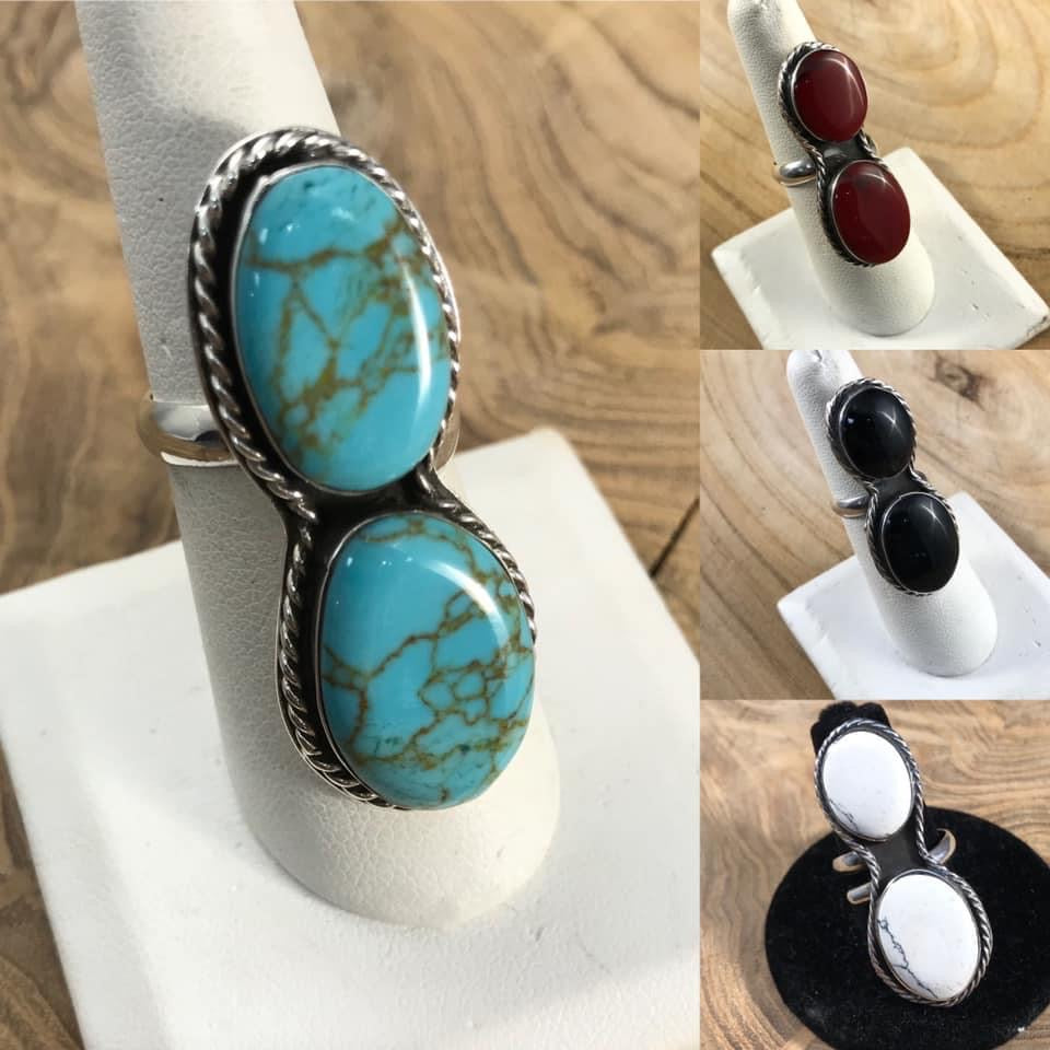 Authentic Double Stone Adjustable Ring