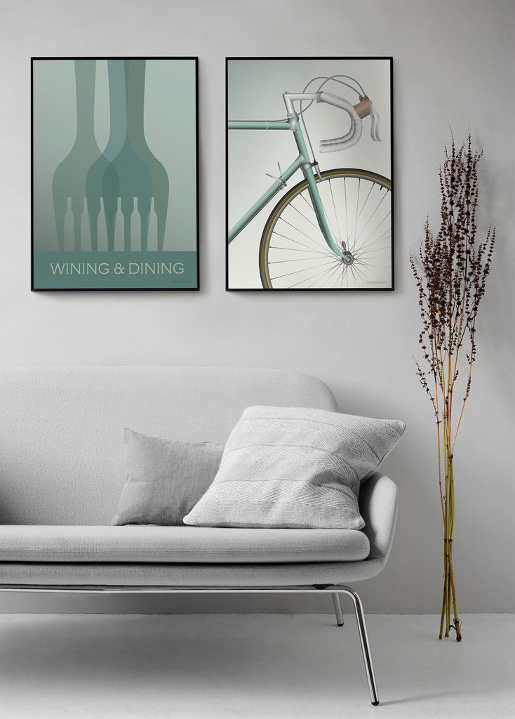 Vissevasse Wining and dining og Racing bicycle plakat