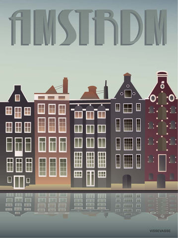 AMSTERDAM Canal houses - plakat
